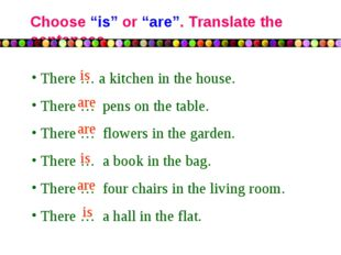 "Choose ""is"" or ""are"". Translate the sentences There … a kitchen in the house."