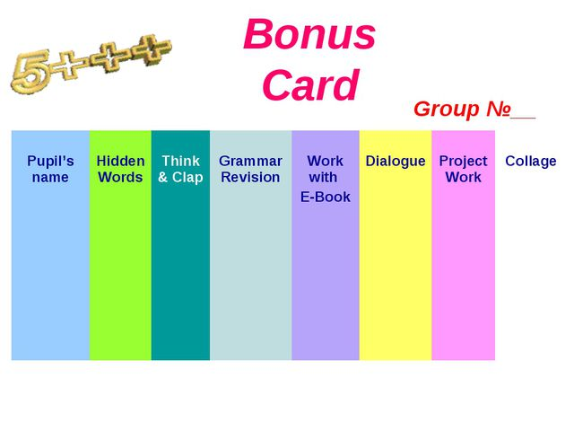 Bonus Card Group №__ Pupil's name Hidden Words  Think & Clap  Grammar Revi...