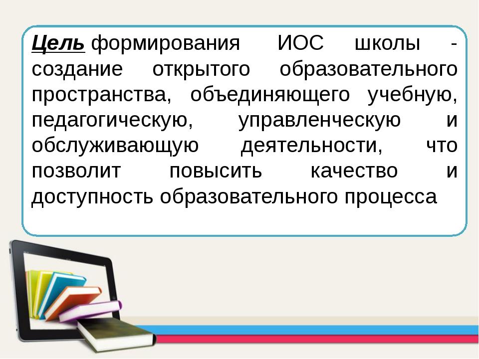 Цельформирования ИОС школы - создание открытого образовательного пространст...