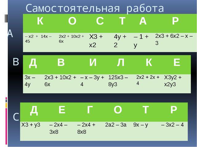 А В С Самостоятельная работа К О С Т А Р – х2+ 14х – 45 2х2+ 10х2+ 6х Х3+ х2...