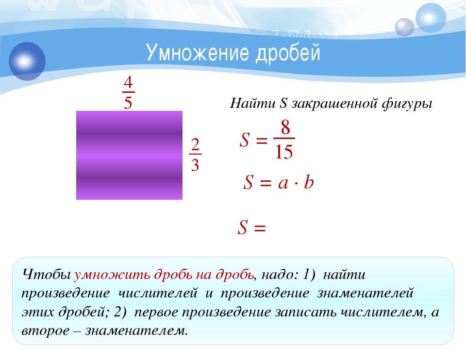 Умножение дробей Чтобы умножить дробь на дробь, надо: 1) найти произведение...
