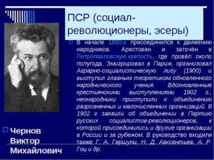 ПСР (социал-революционеры, эсеры) Чернов Виктор Михайлович В начале 1890-х пр