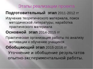 Этапы реализации проекта Подготовительный этап 2011-2012 гг Изучение теоретич