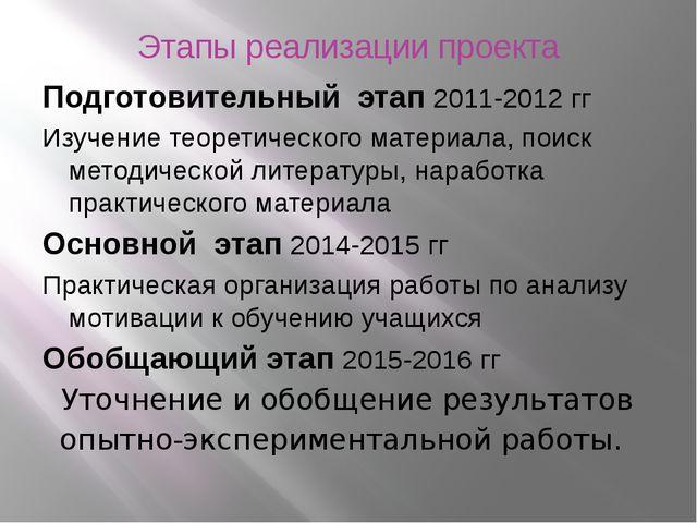 Этапы реализации проекта Подготовительный этап 2011-2012 гг Изучение теоретич...