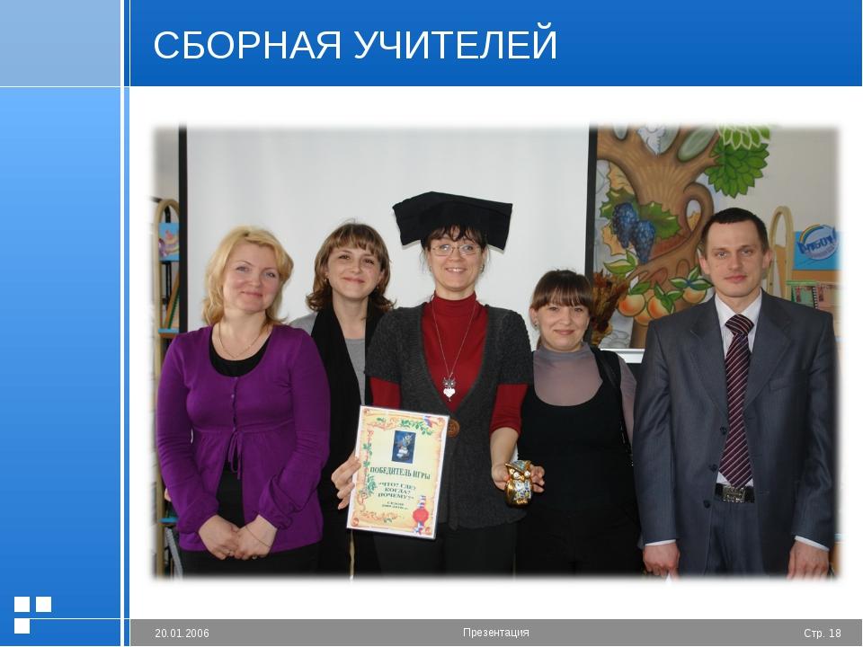 СБОРНАЯ УЧИТЕЛЕЙ Стр. * 20.01.2006 Презентация