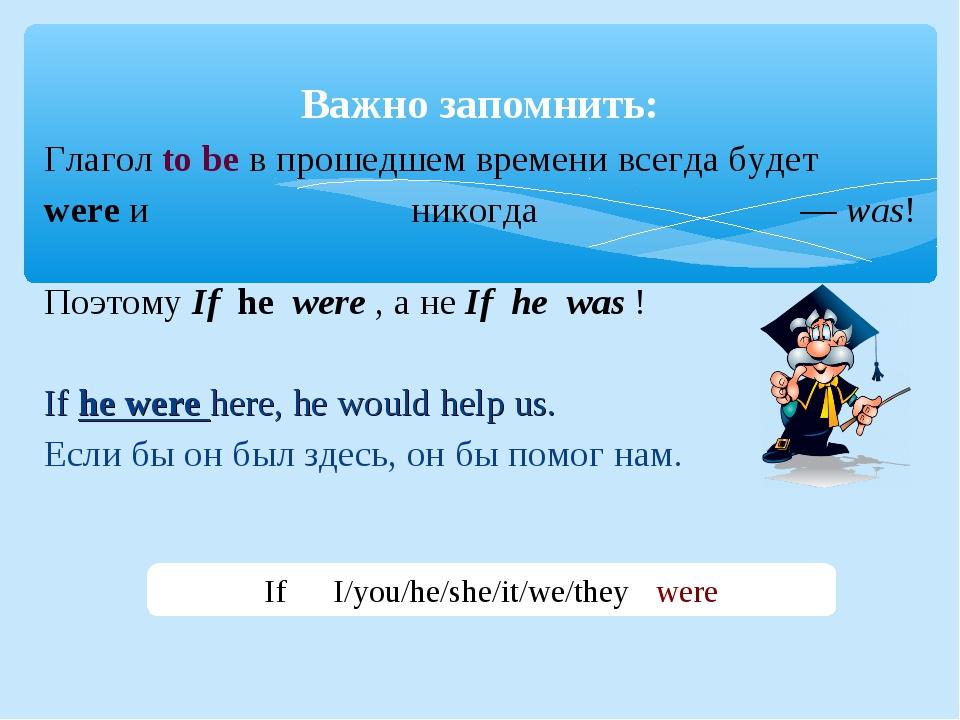 Глагол to be в прошедшем времени всегда будет wereи никогда —was! ПоэтомуI...