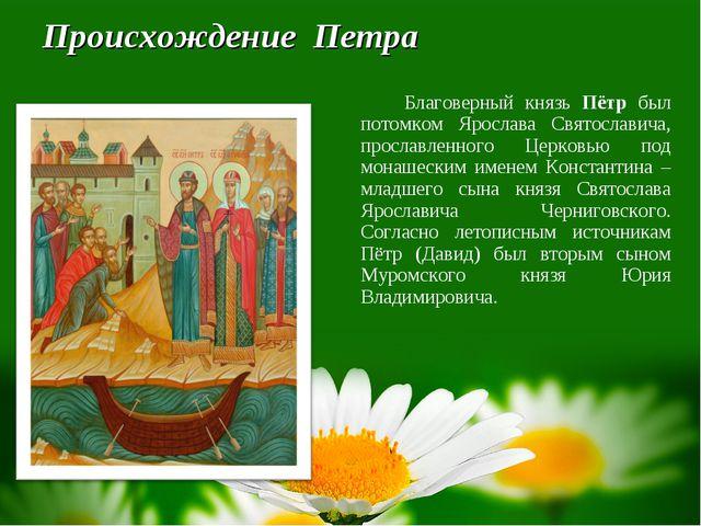Происхождение Петра Благоверный князь Пётр был потомком Ярослава Святослави...