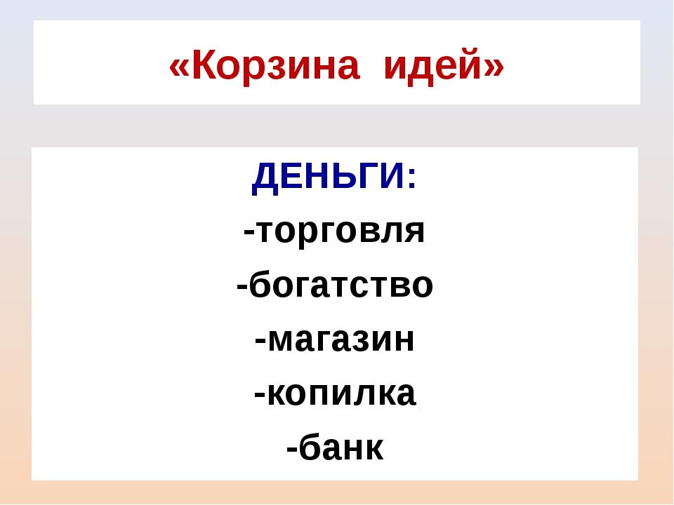«Корзина идей» ДЕНЬГИ: -торговля -богатство -магазин -копилка -банк