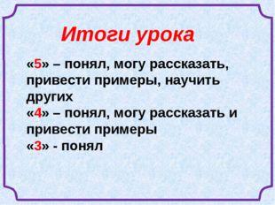 «5» – понял, могу рассказать, привести примеры, научить других «4» – понял, м