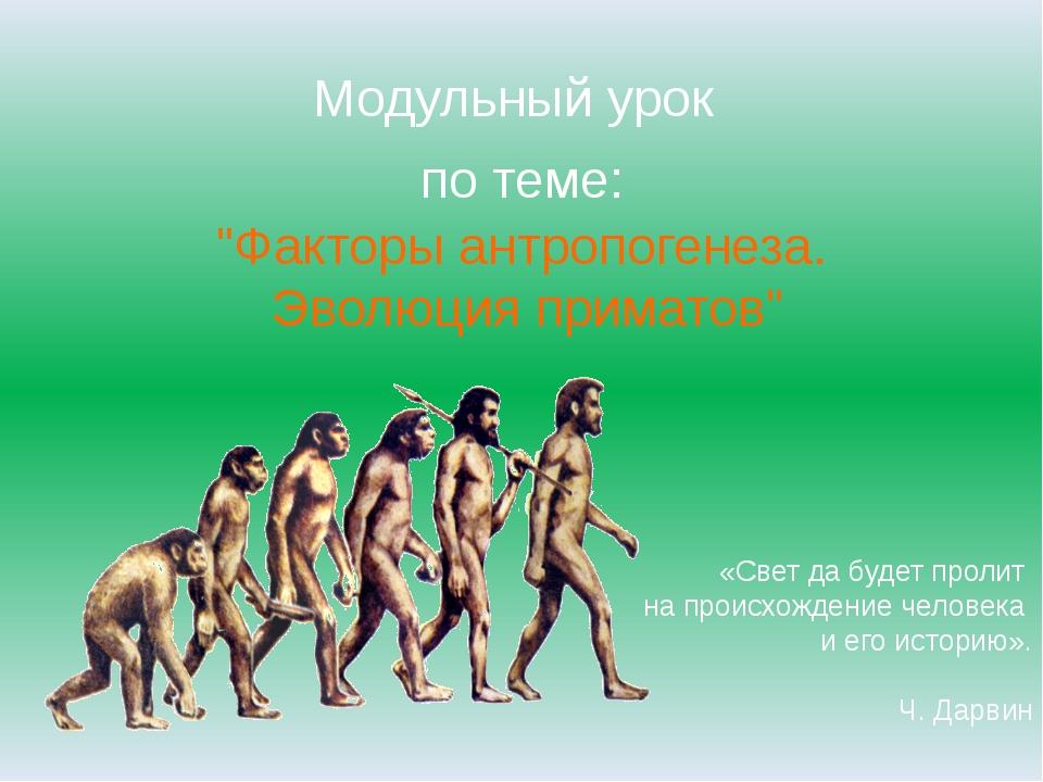 """Модульный урок по теме: """"Факторы антропогенеза. Эволюция приматов"""" «Свет да б..."""