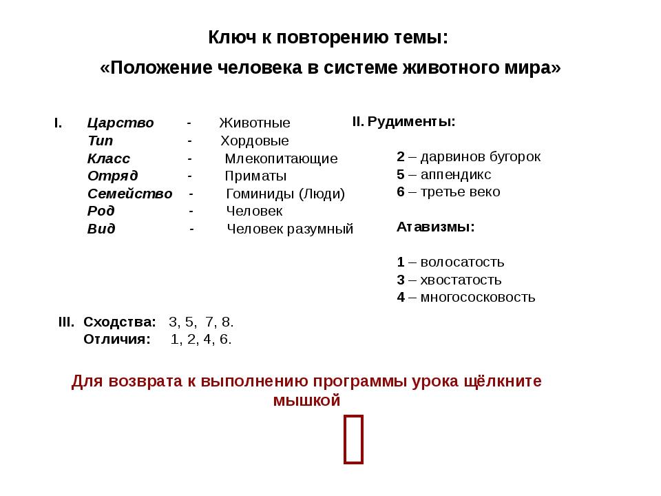 Ключ к повторению темы: «Положение человека в системе животного мира» I. Царс...
