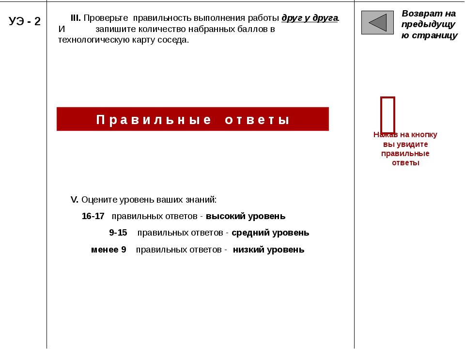 Возврат на предыдущую страницу УЭ - 2 III. Проверьте правильность выполнения...