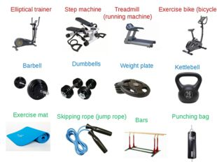 Step machine Elliptical trainer Barbell Weight plate Dumbbells Kettlebell Exe