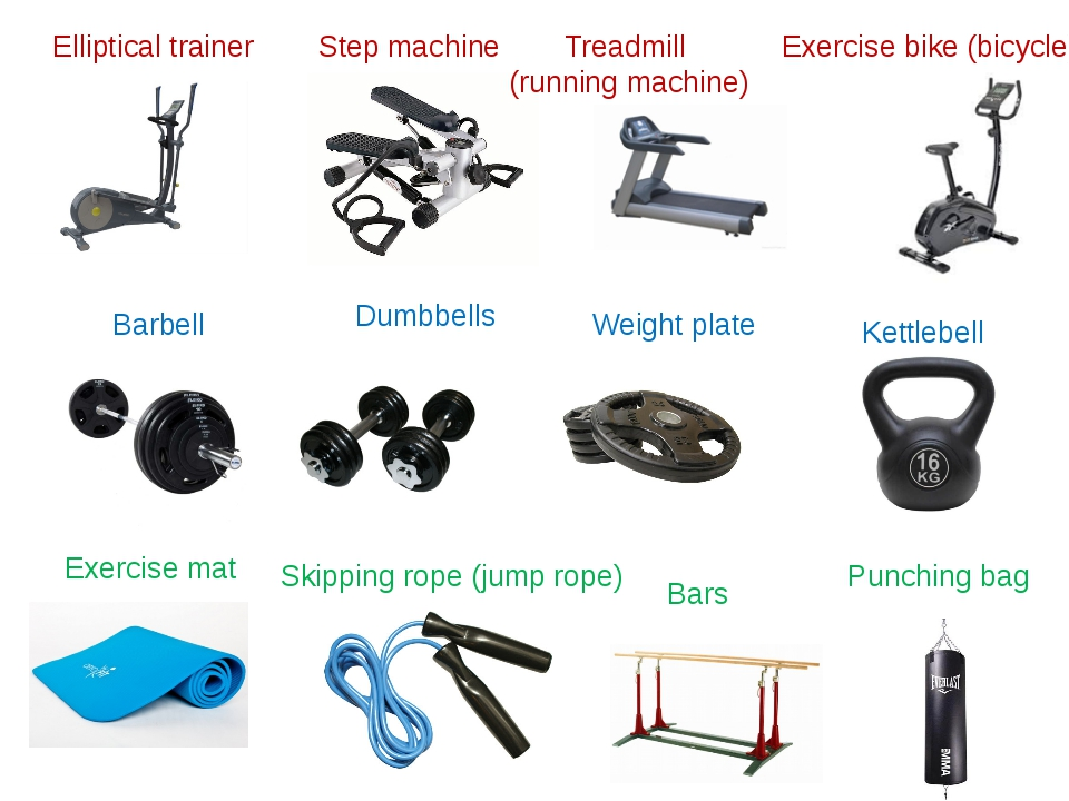Step machine Elliptical trainer Barbell Weight plate Dumbbells Kettlebell Exe...