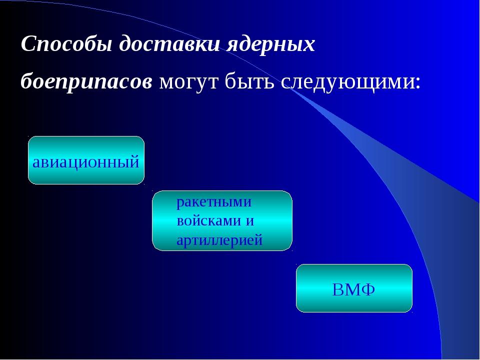 авиационный ВМФ Способы доставки ядерных боеприпасов могут быть следующими: