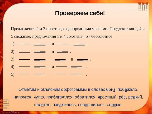 Предложения 2 и 3 простые, с однородными членами. Предложения 1, 4 и 5 сложн...