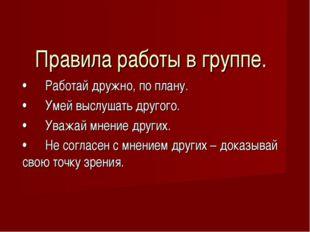 • Работай дружно, по плану. • Умей выслушать другого. • Уважай мнение других.
