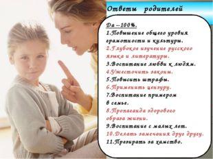 www.themegallery.com Company Logo Ответы родителей Да –100%. 1.Повышение обще