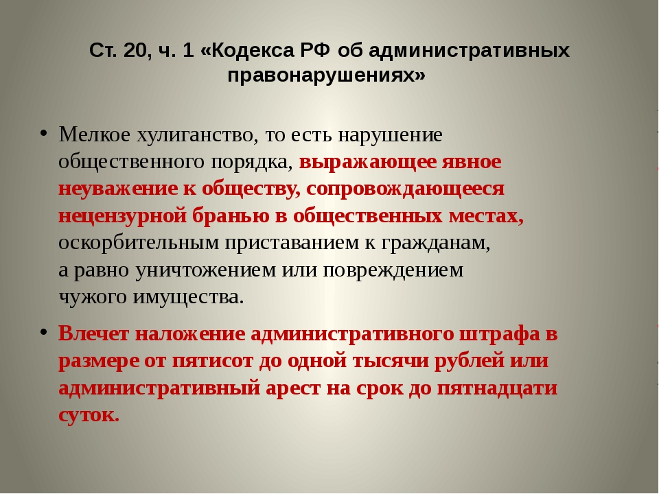 Ст. 20, ч. 1 «Кодекса РФ об административных правонарушениях» Мелкое хулиганс...