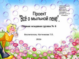 Первая младшая группа № 6 Воспитатель: Когтенкова Т.П. 2015г Муниципальное Б