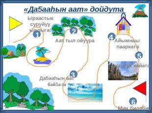 «Да5ааhын аат» дойдута 2 3 4 5 6 1 Ыраастык суруйуу ыллыга! Аат тыл ойуура Д