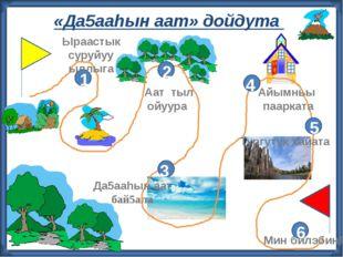 «Да5ааhын аат» дойдута 2 3 4 5 6 1 Ыраастык суруйуу ыллыга Аат тыл ойуура Ай