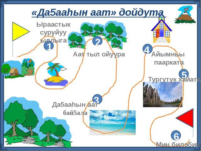 «Да5ааhын аат» дойдута 2 3 4 5 6 1 Ыраастык суруйуу ыллыга Аат тыл ойуура Да...