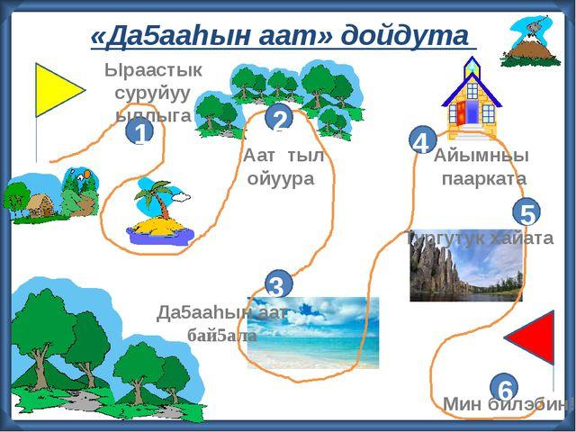 «Да5ааhын аат» дойдута 2 3 4 5 6 1 Ыраастык суруйуу ыллыга Аат тыл ойуура Ай...