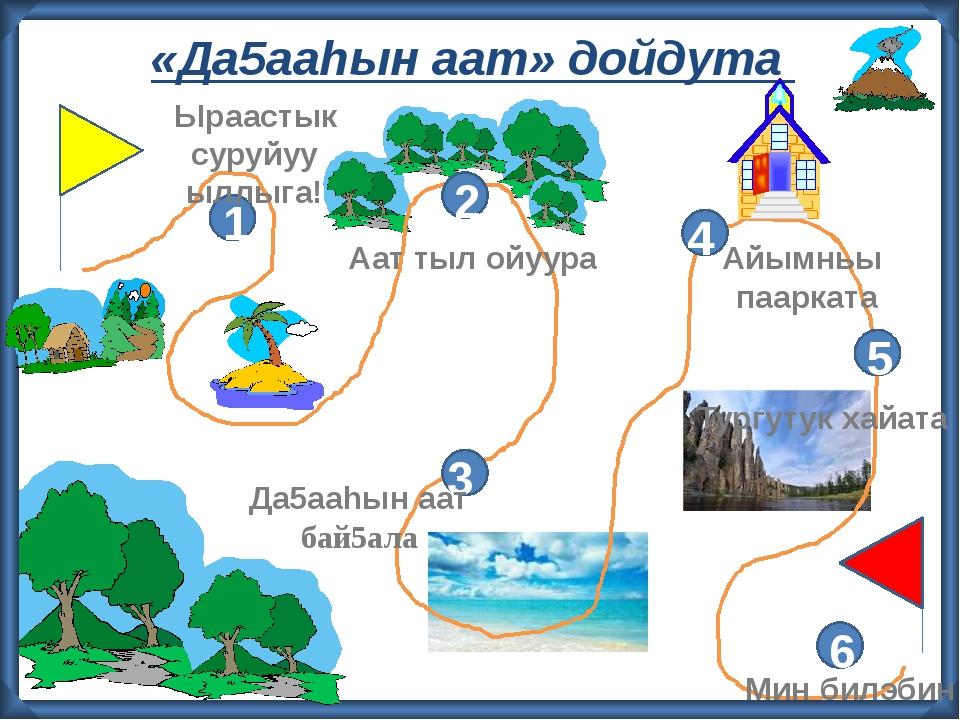 «Да5ааhын аат» дойдута 2 3 4 5 6 1 Ыраастык суруйуу ыллыга! Аат тыл ойуура Д...