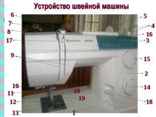Устройство швейной машины 1 9 2 3 4 6 7 8 17 5 10 11 12 13 18 14 16 15 19 20