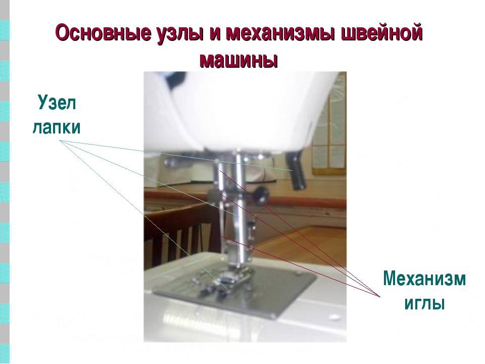 Основные узлы и механизмы швейной машины Узел лапки Механизм иглы