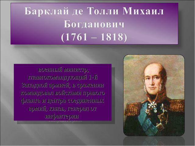 военный министр, главнокомандующий 1-й Западной армией, в сражении командова...