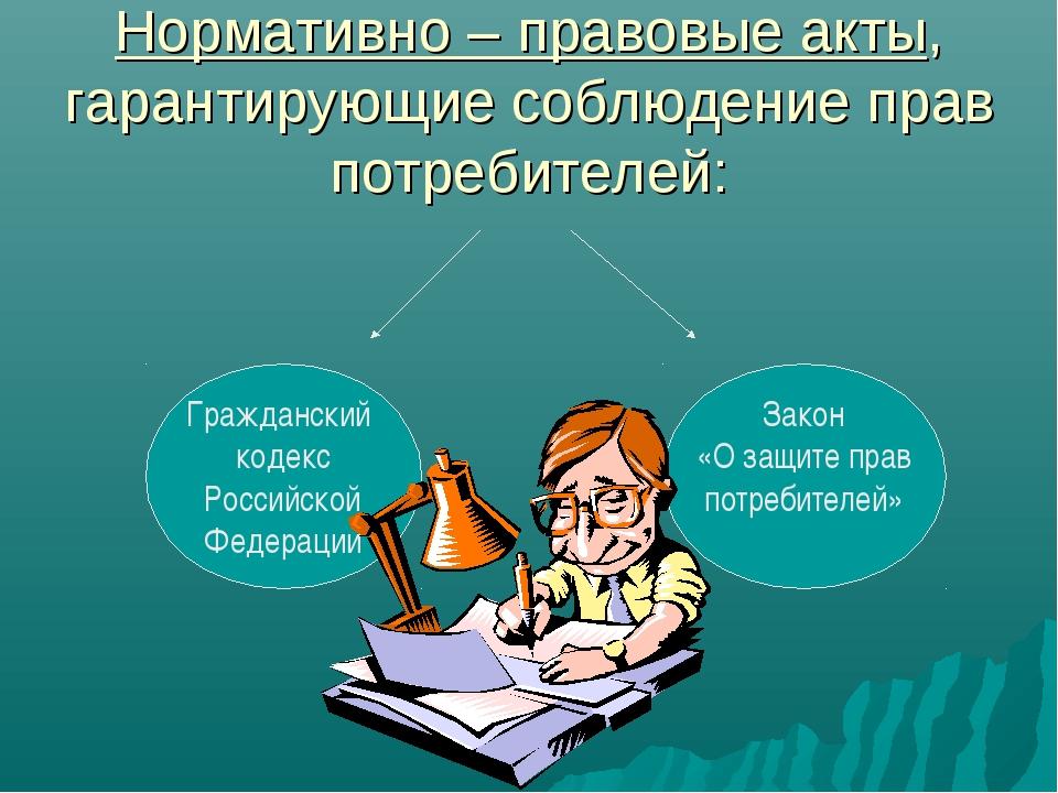 Нормативно – правовые акты, гарантирующие соблюдение прав потребителей: Гражд...
