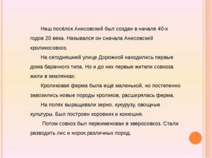 Наш посёлок Анисовский был создан в начале 40-х годов 20 века. Назывался он с