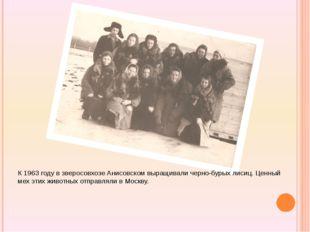 К 1963 году в зверосовхозе Анисовском выращивали черно-бурых лисиц. Ценный м