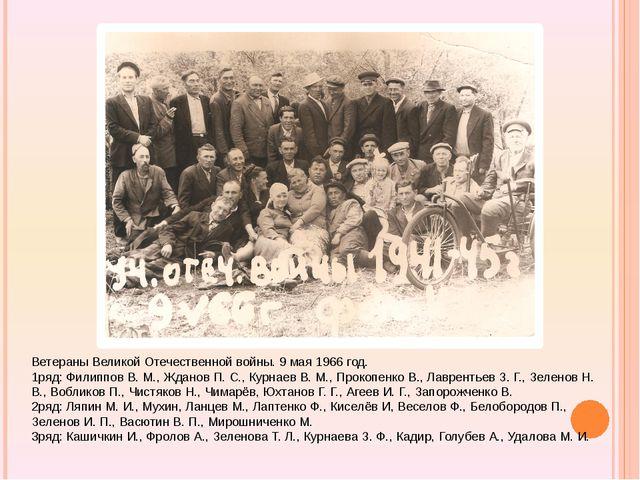 Ветераны Великой Отечественной войны. 9 мая 1966 год. 1ряд: Филиппов В. М.,...