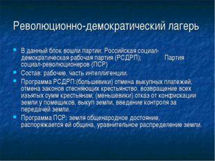 Революционно-демократический лагерь В данный блок вошли партии: Российская со