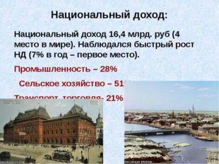 Национальный доход: Национальный доход 16,4 млрд. руб (4 место в мире). Наблю