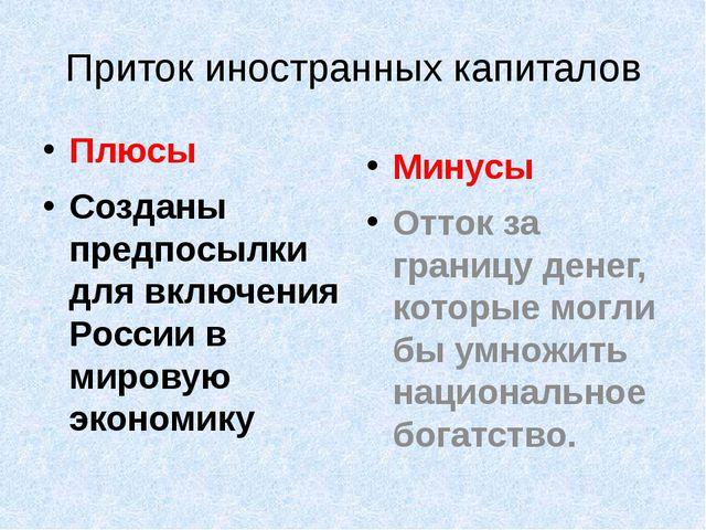 Приток иностранных капиталов Плюсы Созданы предпосылки для включения России...