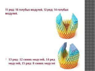 11 ряд: 16 голубых модулей, 12 ряд: 14 голубых модулей. 13 ряд: 12 синих моду