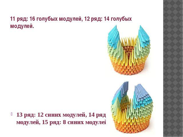 11 ряд: 16 голубых модулей, 12 ряд: 14 голубых модулей. 13 ряд: 12 синих моду...