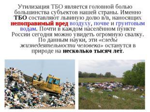 Утилизация ТБО является головной болью большинства субъектов нашей страны. Им