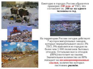 Ежегодно в городах России образуется примерно 130 млн. м3 ТБО, что составляет