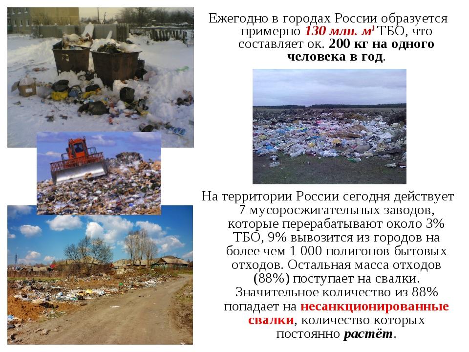 Ежегодно в городах России образуется примерно 130 млн. м3 ТБО, что составляет...