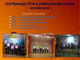 Агитбригада ЗОЖ в районном фестивале волонтеров. Победители в номинациях: 200