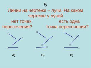 5 Линии на чертеже – лучи. На каком чертеже у лучей нет точек есть одна перес