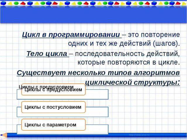 Цикл в программировании – это повторение одних и тех же действий (шагов). Тел...