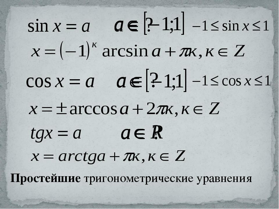 Простейшие тригонометрические уравнения