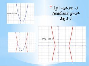 । y।=x2 – 2x - 3 |у|=х²-2х -3 (шаблон у=х²-2х-3 )