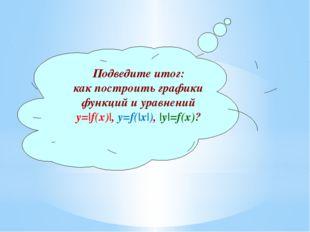Подведите итог: как построить графики функций и уравнений у=|f(x)|, у=f(|x|),